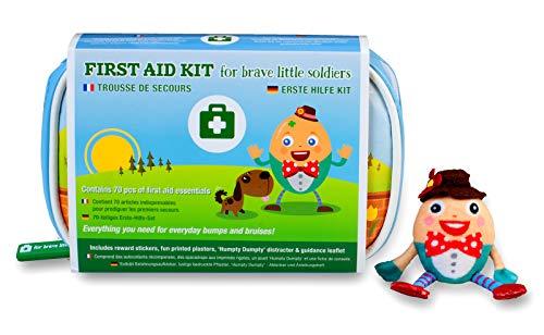 Yellodoor-Baby-Erste-Hilfe-Set 68 wesentliche medizinische Artikel für Kinder, Familien, Auto und Reisen, einschließlich Humpty Dumpty Fingerpuppe-Distraktor und Belohnungsaufklebern