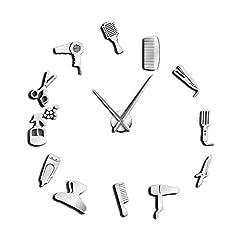 Idea Regalo - SODIAL DIY Barber Shop Orologio da Parete Gigante con Effetto Specchio Kit di Strumenti da Barbiere Orologio Decorativo Senza Cornice Orologio da Parrucchiere Barber Wall Art (Argento)