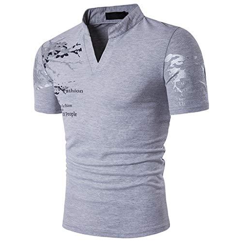 Luckycat Herren Performance Poloshirt Herren Sommer T-Shirt V-Ausschnitt Slim Fit Baumwolle-Anteil | Moderner Männer T-Shirt V-Neck Hoodie-Sweatshirt Kurzarm -