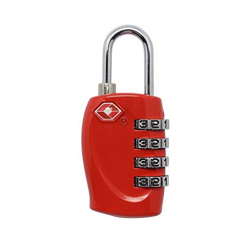 4dreamtop stelligs TSA Kombination Vorhängeschloss für Reisen Urlaub Koffer Gepäck Tasche Code Lock Pad Lock rot