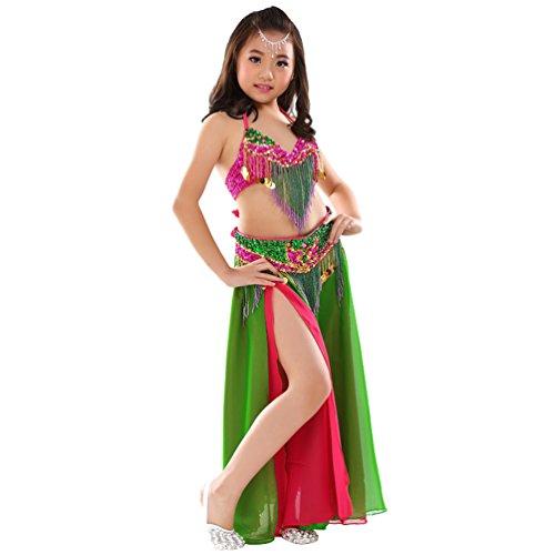(Xinwcang Girls Mädchen Bauchtanz Kostüm Set Das Obere + Rock Kinder Tanzkleidung Karneval Kostüme Darbietungen Tanzkostüme Als Bild (3PC) One Size)