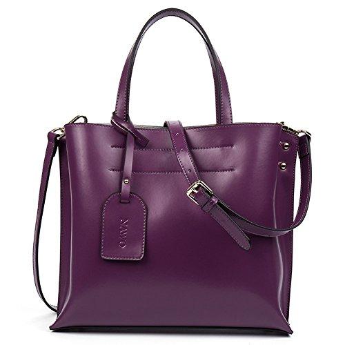 NAWO Damen Ledertasche Handtasche Schultertasche Shopper Umhängetasche Tote Bag Modern Lila (Bag Tote Designer-handtasche)