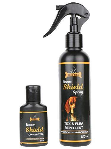 Dog Tick & Flea Repellent Spray - Neem Shield by Dogz & Dudez | Treatment Spray for Dogs, Puppies, Cats with a Proprietary Ayurvedic Medicine, Lemongrass, Aloe Vera ● Destroy Insect Parasites