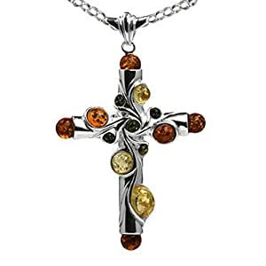 Noda Grand collier avec pendentif Ambre multicolore Argent sterling 46 cm