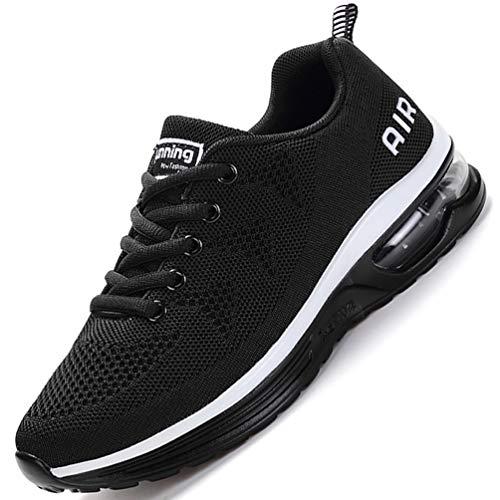 FLARUT Herren Sportschuhe Laufschuhe Damen Turnschuhe Air Trainers Running Fitness Atmungsaktiv Gym Sneakers(schwarz,38)