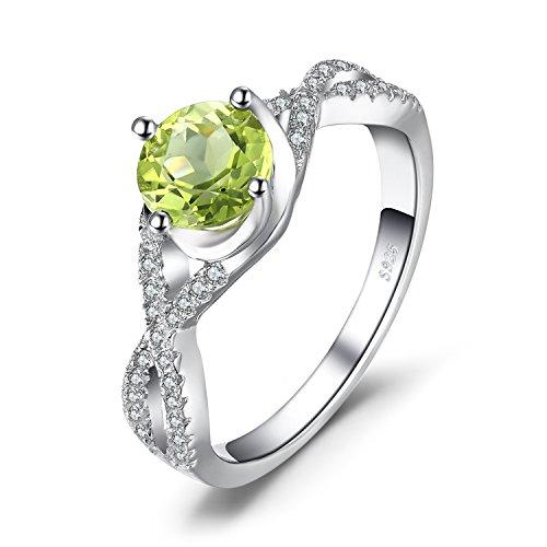 JewelryPalace Klassische Infinity 1.4ct Natürlich Echt Peridot Weiß Topas Jahrestags Ring 925 Sterling Silber Größe 51 to 59