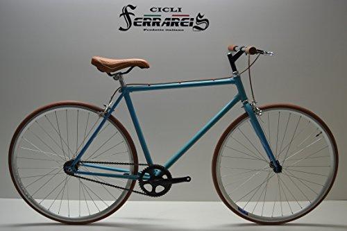 Cicli Ferrareis Fixed Bike Single Speed BICI SCATTO FISSO 1V Celeste Marrone