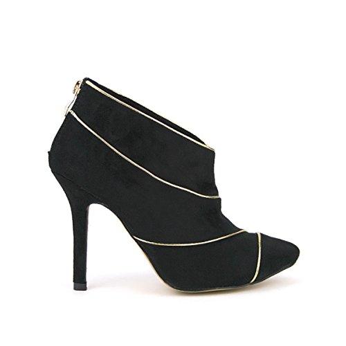 Cendriyon, Bottine Noire Liseret doré BELLA Mode Chaussures Femme Noir