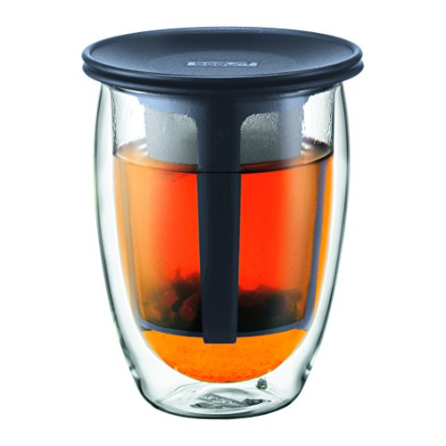 Bodum K11153-01 Tea For One Set Verre 0,35 L Filtre en Nylon Noir