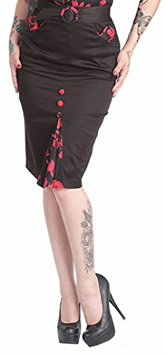 Retro Voodoo Vixen RED FLOWER Bleistiftrock PENCIL SKIRT Schwarz Rockabilly Vint