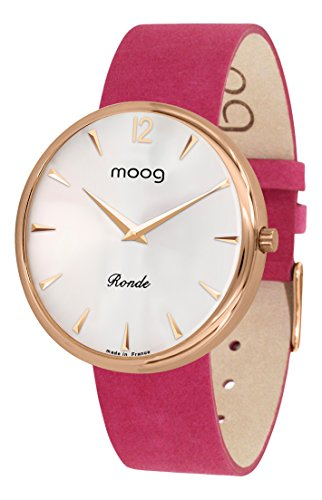 Moog Paris Ronde Classic Women's Watch with Silver Dial, Pink Strap in Adjustable Nubuck lace - M41671-C41