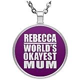 Rebecca World's Okayest Mum - Circle Necklace Purple / One Size, Pendentif Charme Plaqué Argent avec Collier, Cadeau pour Anniversaire, Noël