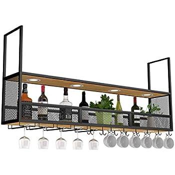 LXYPLM Étagère Casier vin Bouteille Plafond en métal fixé au Plafond en Verre de vin Suspendu ...