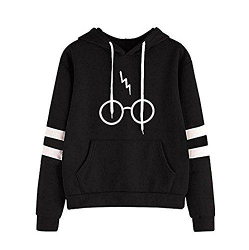Damen Langarm rundhals Kapuzenpullover Harry Potter Blitz Gläser Druck Hoodie Tasche Sweatshirt Pullover mit Kapuzen (EU36-(S), Schwarz)