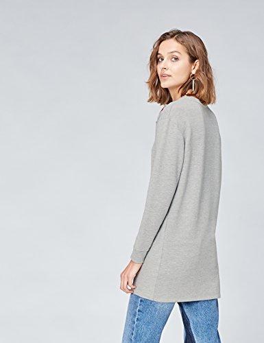 FIND Damen Oversized Pullover mit Aufnähern Grau (Grey Mix)