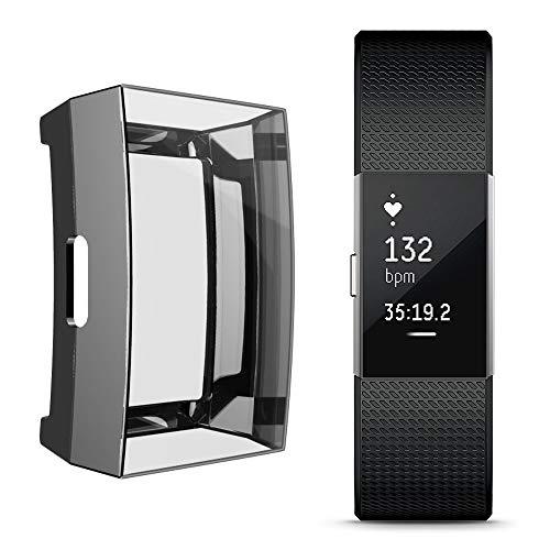 Colorful Für Fitbit Charge 2 Hülle Displayschutz, Slim Plated TPU Case Kratzfest Abdeckung Rundherum Schutz Schlankes Schutzhülle für Fitbit Charge 2 (Schwarz)