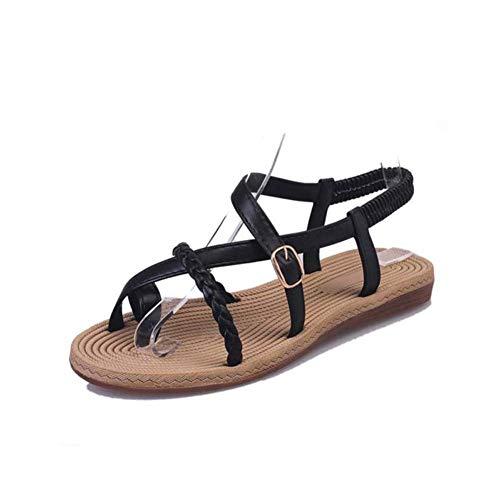 Sandalias Planas Verano Mujer Estilo Bohemia Zapatos de Dedo Sandalias Talla Grande Cinta Elástica Casuales de Playa Chanclas Romanas de Mujer 2019 Negro Blanco