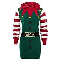 SS7 Womens Christmas Jumper Dress Elfie, 14, Red / Green