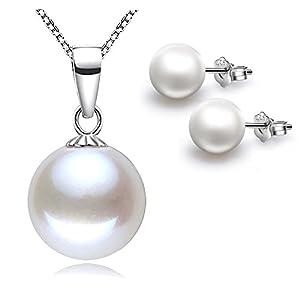 """Kim Johanson Damen Perlen Schmuckset """"Fiona"""" aus 925 Sterling Silber Halskette mit Anhänger & Ohrringe inkl. Schmuckbeutel"""