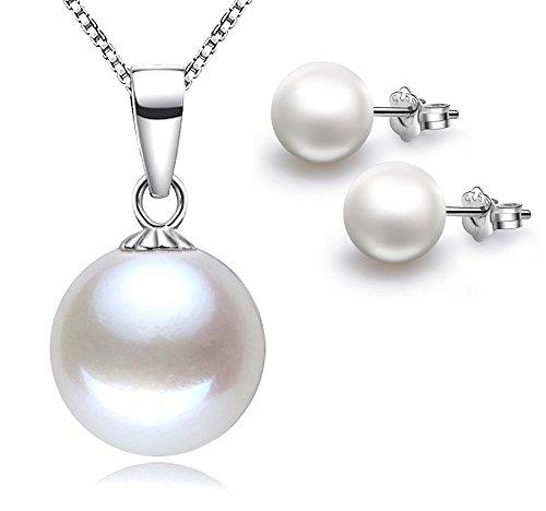 """Kim Johanson Damen Perlen Schmuckset \""""Fiona\"""" aus 925 Sterling Silber Halskette mit Anhänger & Ohrringe inkl. Schmuckbeutel"""