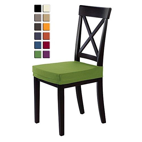 SCHEFFLER-HOME Marie Sitz-Hussen 2 Stück, Stretch-Stoff Stuhl-Sitz-Bezug, bi-elastische Fleckschutz-Husse, moderne Schutz-Abdeckung mit Gummiband - Apfelgrün