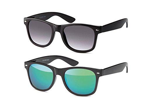 MOKIES Unisex Sonnenbrillen - UV400 Filterkategorie 3 CE Kennzeichnung - Wayfarer Design - Polycarbonat - mit Federscharnier - B-SET Grau verlaufend, Grün