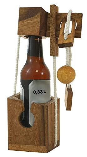 Logoplay Holzspiele Mini Flaschen-Tresor extra für kleine Flaschen - Flaschen-Safe - Flaschen-Puzzle - Denkspiel - Knobelspiel - Geduldspiel - Logikspiel aus edlem Holz in kleinformatiger Ausführung