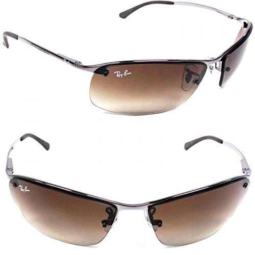 Sonnenbrille New Ray halbrandlos RB3183Herren Sonnenbrille Schwarz Rahmen grau polarisierte 63mm Italien Made