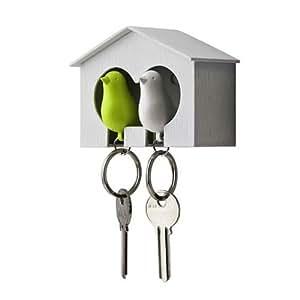 Couple Pair Sparrow Bird House Nest Whistle Keyholder Keychain Keyring Rack For Home Decoration