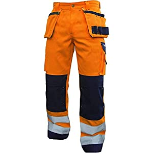 Dassy 200899-6681-56 Glasgow – Pantalones de trabajo de alta visibilidad con múltiples bolsillos y bolsillo en la rodilla, 290 G/M2, color naranja fluorescente/azul marino, talla 56