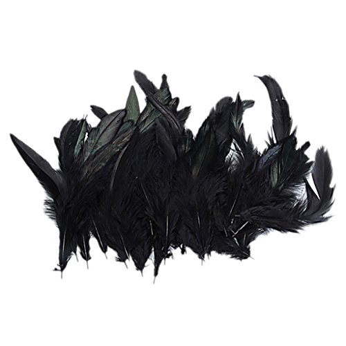 Xiton teñido Pluma del Gallo del Martillo para los Trajes / Sombreros / Negro Decoración-