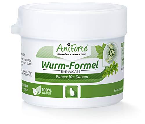 AniForte Wurm-Formel 25 g natürliche Einmalgabe für Katzen, Natur Pur, 100% Naturprodukt, Bei und Nach Wurmbefall, rein natürlich und außerordentlich schonend für die Tiere, Magen & Darm