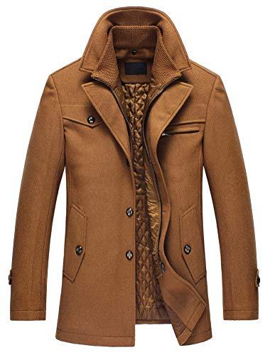 Lavnis Herren Warm Wollmantel Stehkragen Wintermantel Kurzmantel Winter Jacke Business Freizeit Style4 Camel S | 00767550774262