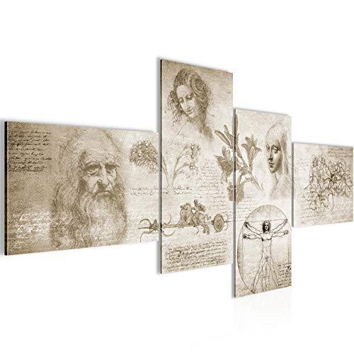Bilder Werke von Leonardo Da Vinci Wandbild 200 x 100 cm Vlies - Leinwand Bild XXL Format Wandbilder Wohnzimmer Wohnung Deko Kunstdrucke Braun 4 Teilig - MADE IN GERMANY - Fertig zum Aufhängen 700441a