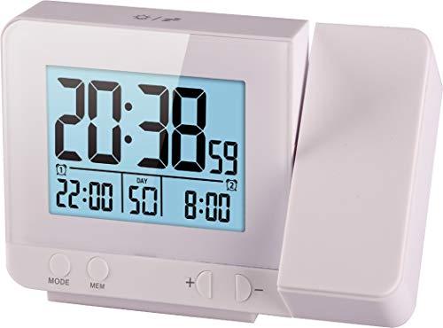 Think Gizmos Sveglia Digitale da Comodino TG644 con Proiettore - Sveglia Digitale Atomica con Tempera-tura e 2 Allarmi - Sveglia con Proiettore con Igrometro e Porta USB - Sveglia Luminosa (Bianco)