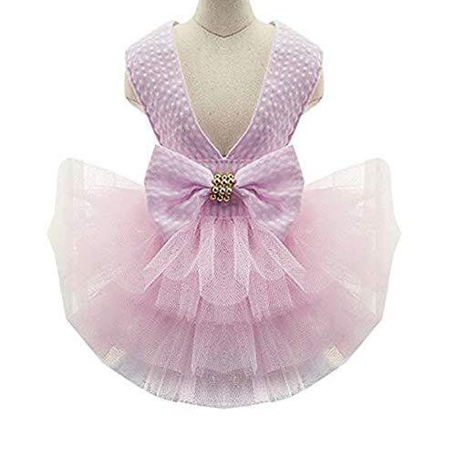 Fansu Prinzessin Hund Kleid Spitze Mesh Tutu Sling Rock für Kleine Hunde Katze Mädchen Bekleidung Party Cosplay Dekoration (XS,Rosa gestreift)