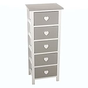 meuble commode chiffonnier 5 tiroirs design coeur en bois coloris blanc et gris. Black Bedroom Furniture Sets. Home Design Ideas