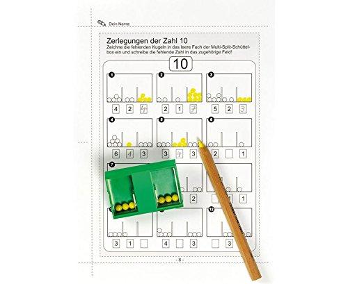 Preisvergleich Produktbild Betzold Multi-Split Schüttelbox - inkl. Arbeitsblätter, mit zwei unterschiedlichen Einsätzen, aus Kunststoff, mit 10 Kugeln - Zahlenzerlegung Rechnen lernen Grundschule Mathe Kopfrechnen