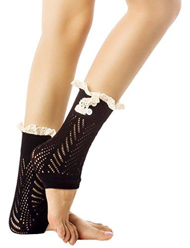 iB-iP Damen Stricken Knöpfen Stilvolle Warme Öse Manschette Knöchel Beinlinge, (Jessie Outfit)