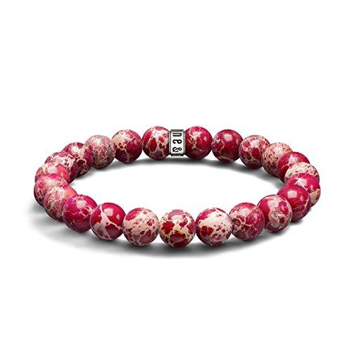 Red Sea Sediment Jasper Armband-Halbedelstein 8mm Perlen & 925Sterling Silber Bead-Stretch Armband für Männer & Frauen, Einzigartige Design & Made in United Kingdom (Sea Armband Red)