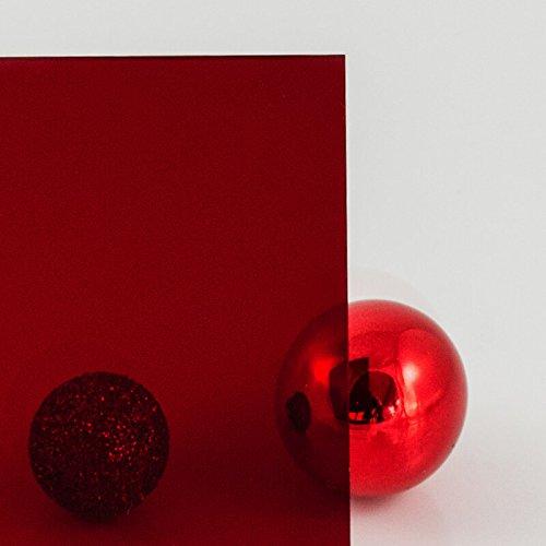 PLEXIGLAS® rot Cherry GS 3C01, Lichtdurchlässigkeit 4%, zur Produktpräsentation, Dekoration, Messe- und Ladenbau - Maß: 25x25x0,3 cm