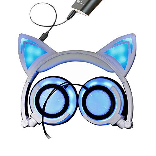 E-CHENG Cat Ear Headphones Wired Over-Ear Foldable LED Gaming Flashing Lights Headset with USB Charging Computer Phone Atmosphere Earphone for Adult, Kids, Children, Girls, Boys (White, New Version)