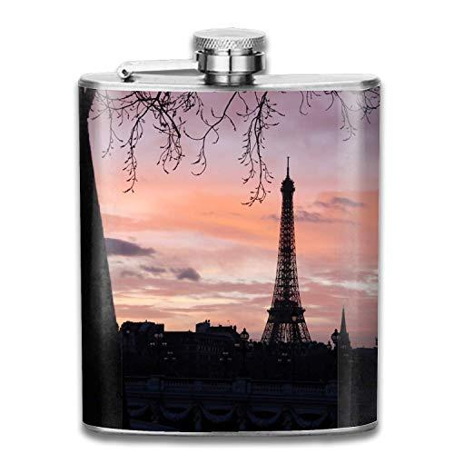 Liquor Flask Stainless Steel Wine Pot Sunrise Eiffel Tower Pocket Flask for Storing Whiskey Alcohol Liquor, 7 oz -