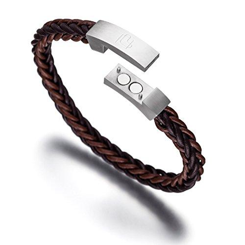 lunavit-hybrid-two-tone-magnetarmband-braunes-leder-flechtarmband-mit-mattierter-edelstahlschliesse-