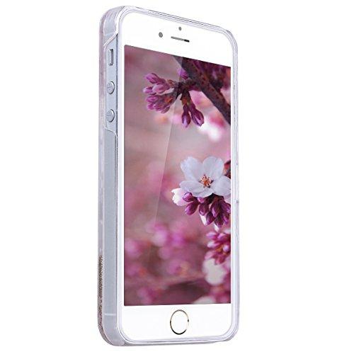 SMART LEGEND iPhone SE Hardcase, iPhone 5S/5 Bumper Liquid Hülle Glitter Transparent Schutzhülle mit Rosa Blume und Hase Muster Fließen Flüssig Schwimmend Premium Shiny Glanz Sparkle Bling Tasche Skin Gold Flüssigkeit
