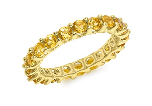 Carissima Gold 9 ct Yellow Gold Citrine Eternity Ring - Size - M