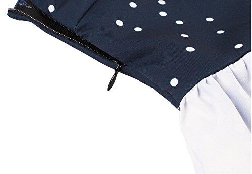 Vestiti retro 50s, VERNASSA Natale IL vestito del Ballo in pantaloncini V - Collo Vintage Stampa Sera un Cocktail Ufficiale, Multicolore, S-XXXXL 1588-Blu