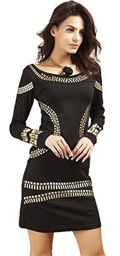 Langarm Glänzend Metallisch Golden Barock Ethnisch Stammes Afrikanische Mini Minikleid Bodycon Etui Etuikleid Figurbetontes Kleid Schwarz S