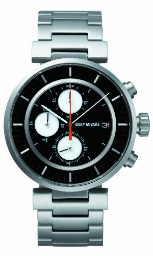 Issey Miyake W Unisex Quartz Watch with Black Dial Chronograph Display and Black Stainless Steel Bracelet SILAY001