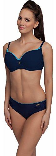 aQuarilla Damen Bikini Set Rinella (Blau/Navy/Navy, Cup 75 H / Unterteil 40) (Bh Soft-cup Navy)